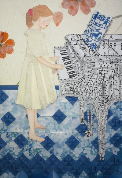 Self-made collage of sheet music and painted paper. The collage shows a girl standing at the piano playing notes.